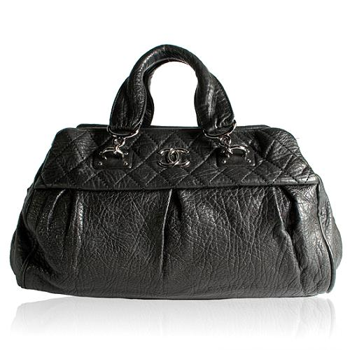 Chanel Calfskin Double Handle Satchel Handbag