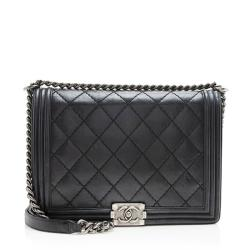 Chanel Calfskin Double Stitch New Medium Boy Bag