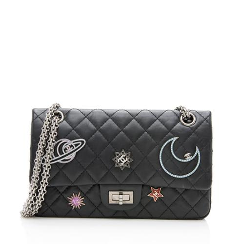 844d928afdbb Chanel Calfskin Planet Lucky Charms Reissue 255 Double Flap Bag. Chanel  Sequin Black Patent Leather ...