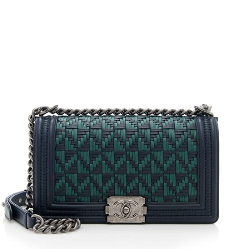 Chanel Calfskin Woven Medium Boy Bag