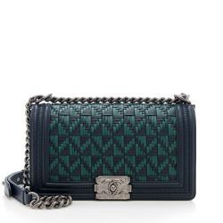 Chanel Woven Calfskin Medium Boy Bag