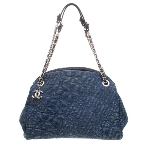 Chanel Camellia Embroidered Denim Large Just Mademoiselle Bowling Bag