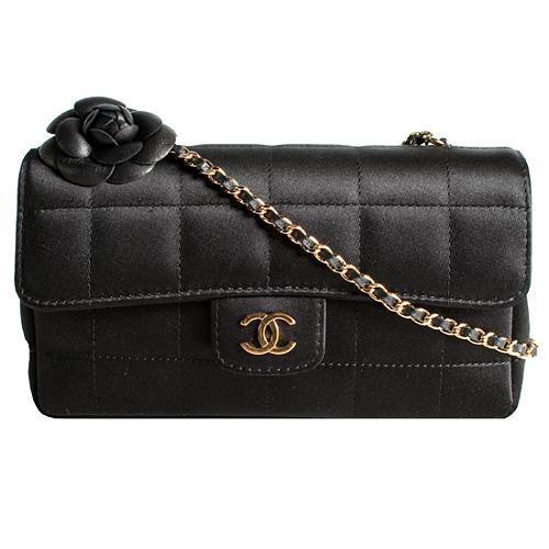 Chanel Camellia Satin Quilted Flap Shoulder Handbag