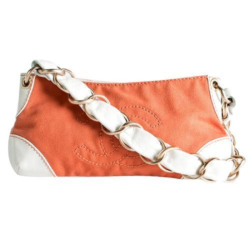 Chanel Canvas And Leather Pochette Shoulder Handbag