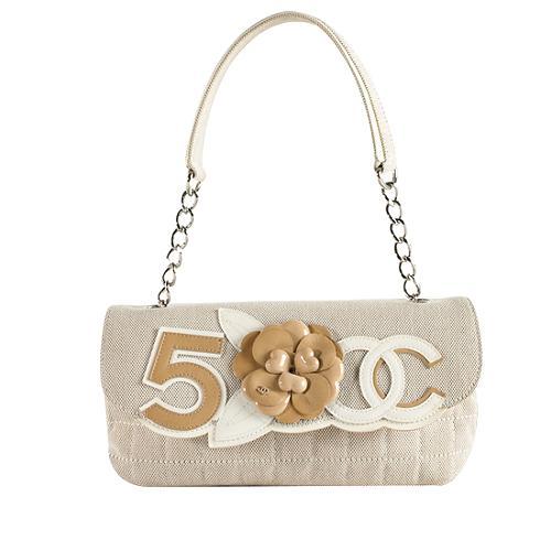 Chanel Canvas Camellia No 5 Flap Shoulder Handbag