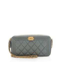 Chanel Grained Calfskin Boy Clutch with Chain