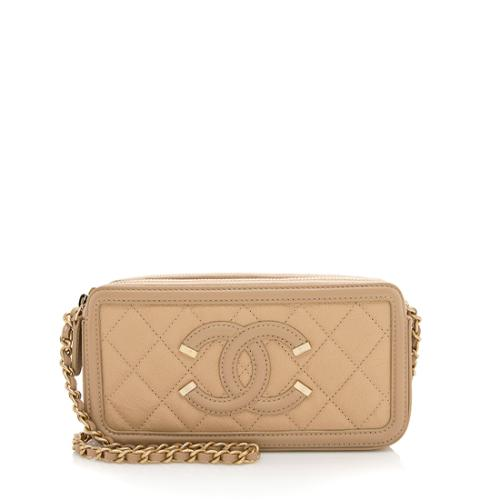 Chanel Grained Calfskin CC Filigree Clutch with Chain