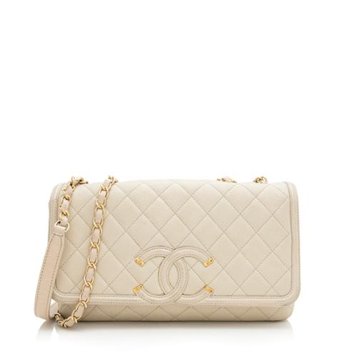Chanel Caviar Leather CC Filigree Medium Flap Bag