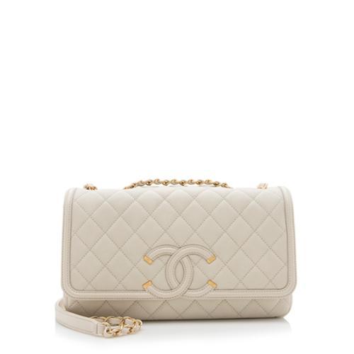 Chanel Caviar Leather CC Filigree Medium Flap Bag