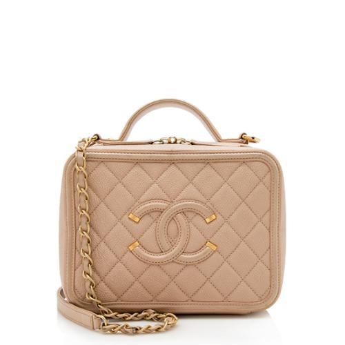 Chanel Caviar Leather CC Filigree Medium Vanity Case