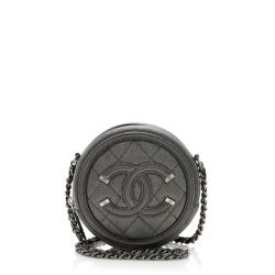 Chanel Caviar Leather CC Filigree Round Clutch with Chain