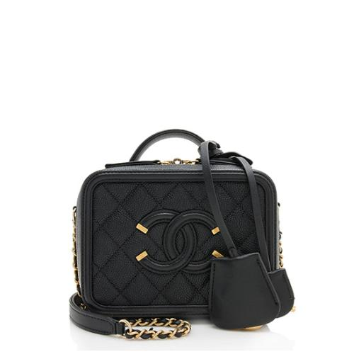 Chanel Caviar Leather CC Filigree Small Vanity Case