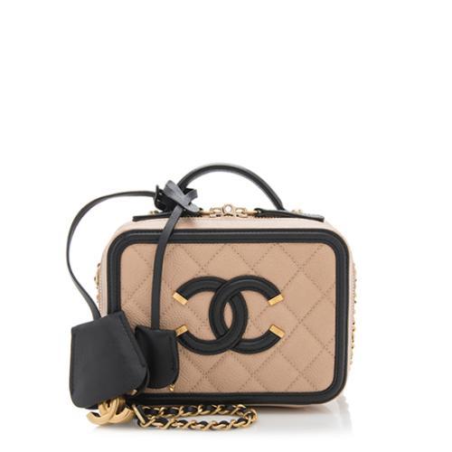 Chanel Caviar Leather CC Filigree Small Vanity Case
