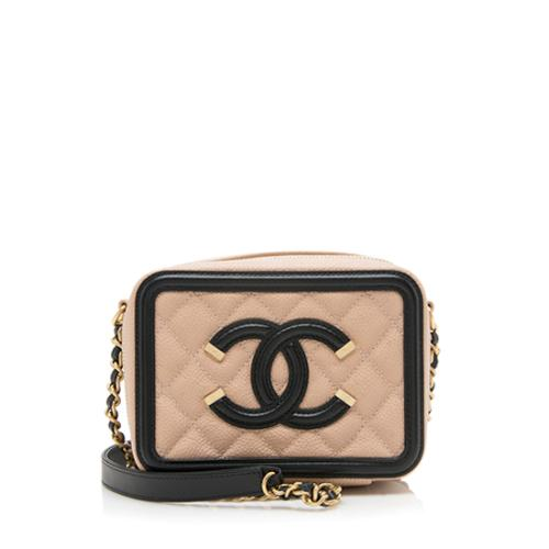 Chanel Caviar Leather CC Filigree Vanity Clutch with Chain