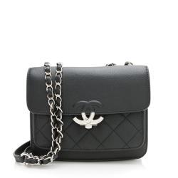 Chanel Caviar Leather CC Flap Shoulder Bag