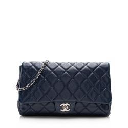 Chanel Caviar Leather Chain Flap Clutch Bag