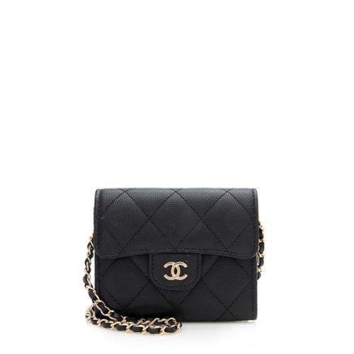 Chanel Caviar Leather Classic Chain Mini Clutch