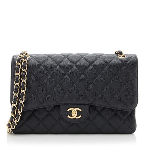 Chanel Caviar Leather Classic Jumbo Double Flap Bag