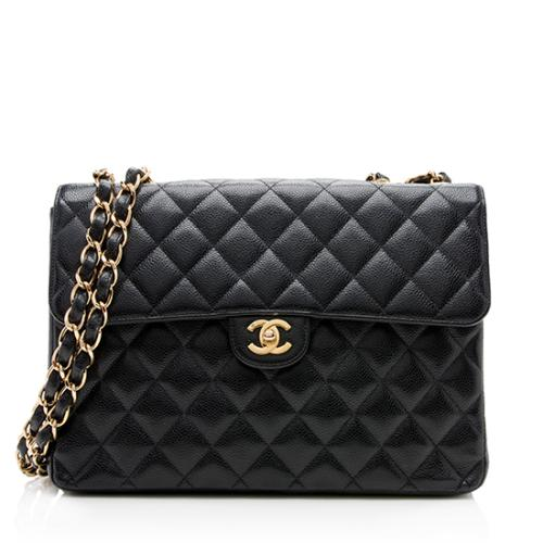 Chanel Caviar Leather Classic Jumbo Flap Shoulder Bag