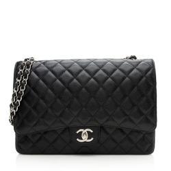 Chanel Caviar Leather Classic Maxi Double Flap Bag