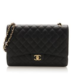 Chanel Caviar Leather Classic Maxi Double Flap Bag