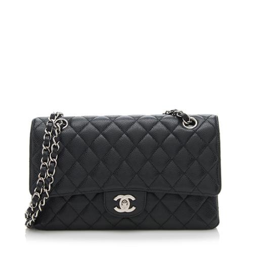 Chanel Caviar Leather Classic Medium Double Flap Shoulder Bag