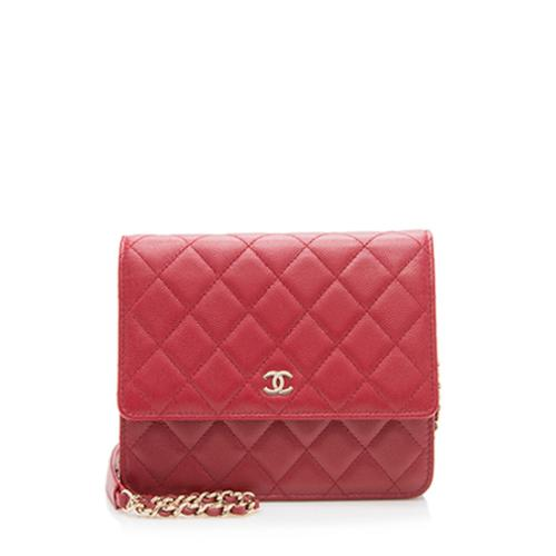 Chanel Caviar Leather Classic Square Wallet On Chain Bag