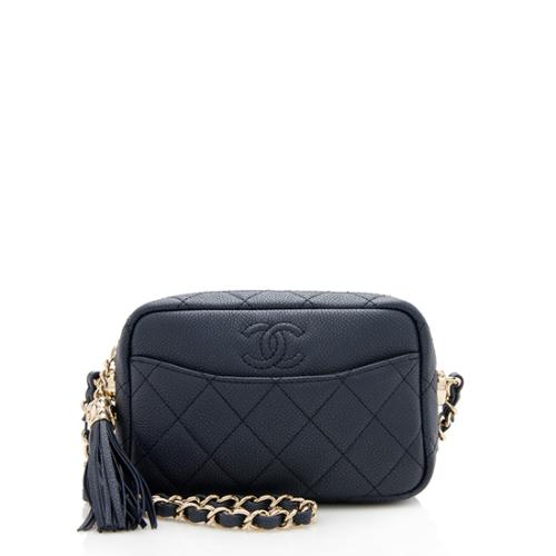 Chanel Caviar Leather Coco Tassel Mini Camera Case