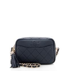 Chanel Matte Caviar Leather Coco Tassel Mini Camera Bag