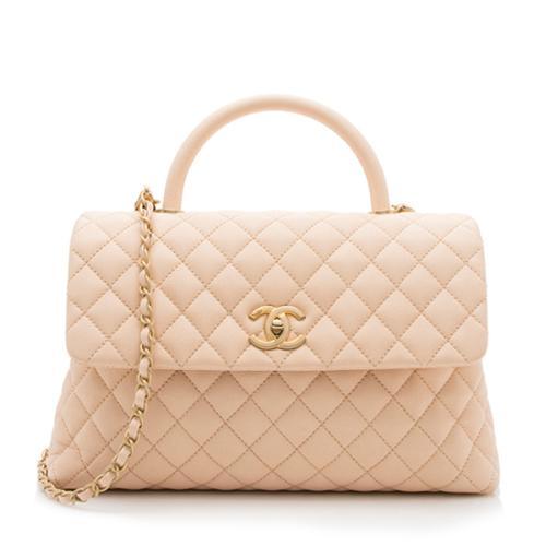 Chanel Caviar Leather Coco Top Handle Medium Flap Bag