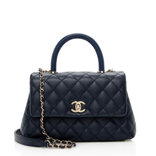 Chanel Caviar Leather Coco Top Handle Mini Flap Bag