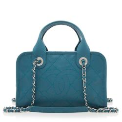 Chanel Caviar Leather Deauville Small Bowler Satchel