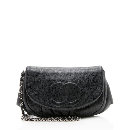 Chanel Caviar Leather Half Moon Wallet On Chain Bag