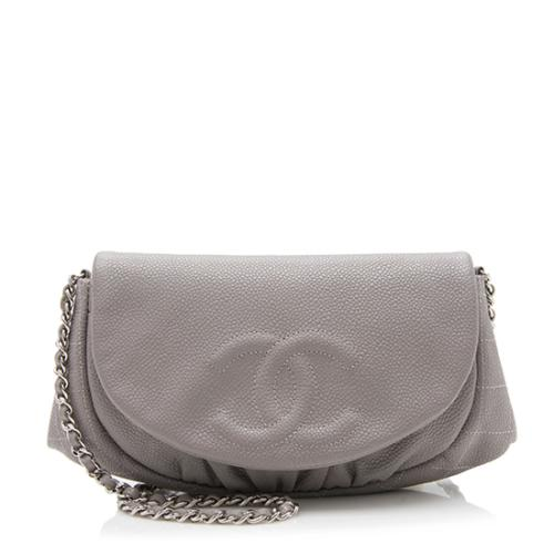 Chanel Caviar Leather Half Moon Wallet on Chain Bag