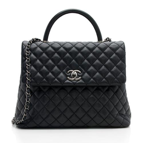 Chanel Caviar Leather Large Coco Top Handle Flap Bag