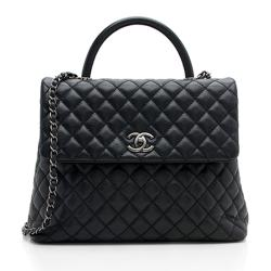 Chanel Caviar Leather Coco Top Handle Large Flap Bag