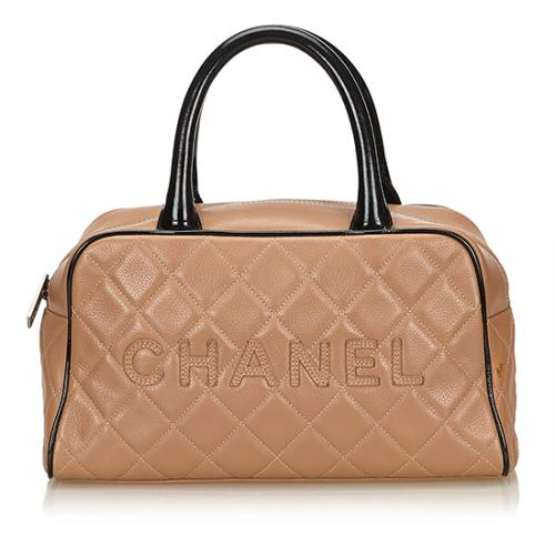 Chanel Caviar Leather Logo Bowler Small Satchel