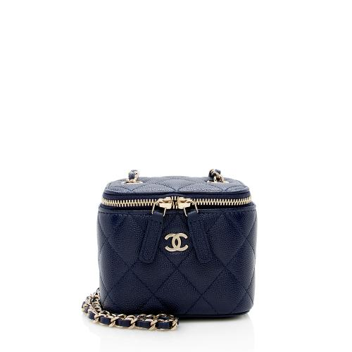 Chanel Caviar Leather Mini Vanity Case with Chain