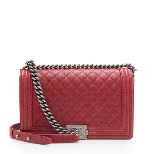 Chanel Caviar Leather New Medium Boy Bag