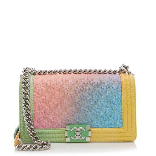 Chanel Caviar Leather Rainbow Medium Boy Bag