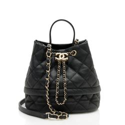 Chanel Caviar Leather Rolled Up Drawstring Bucket Bag