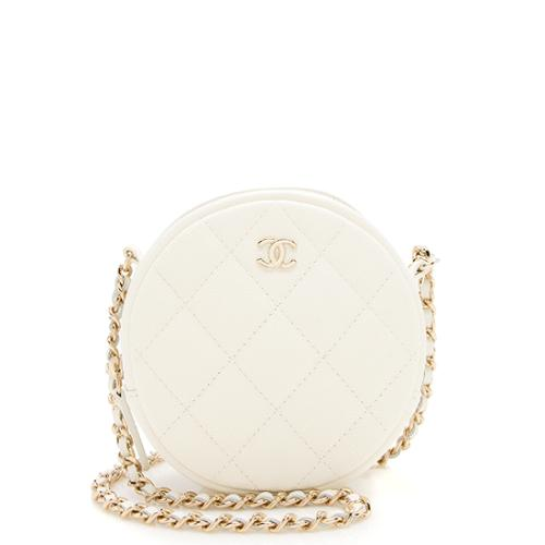 Chanel Caviar Leather Round Clutch with Chain