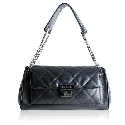 Chanel Caviar Leather Small Accordion Shoulder Handbag