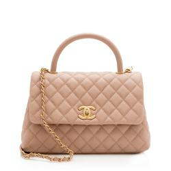 Chanel Caviar Leather Coco Top Handle Small Flap Bag