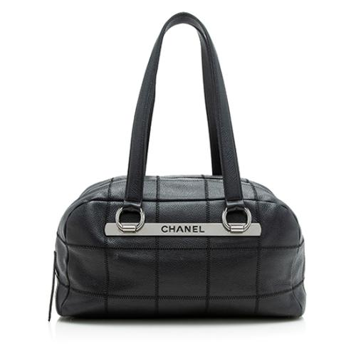 Chanel Caviar Leather Square Quilted Bowler Medium Shoulder Bag