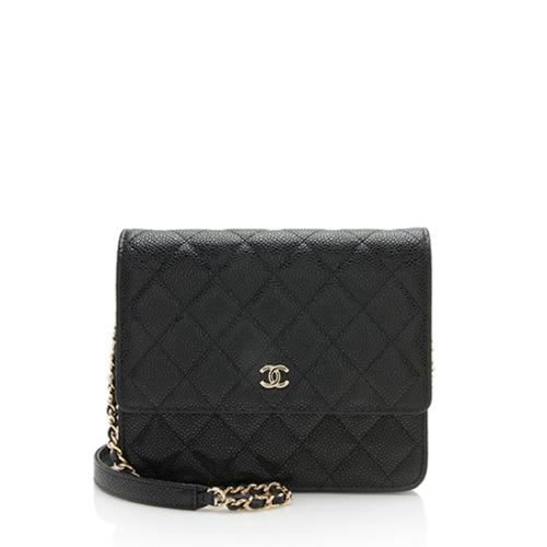 Chanel Caviar Leather Square Wallet on Chain Bag