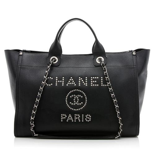 Chanel Caviar Leather Studded Deauville Large Tote