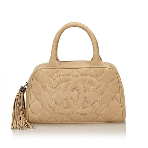 Chanel Washed Caviar CC Tassel Bowler Small Satchel