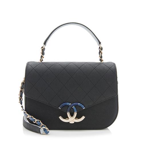 Chanel Caviar Leather Top Handle Flap Bag