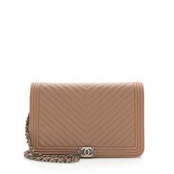Chanel Chevron Caviar Leather Boy Wallet on Chain Bag